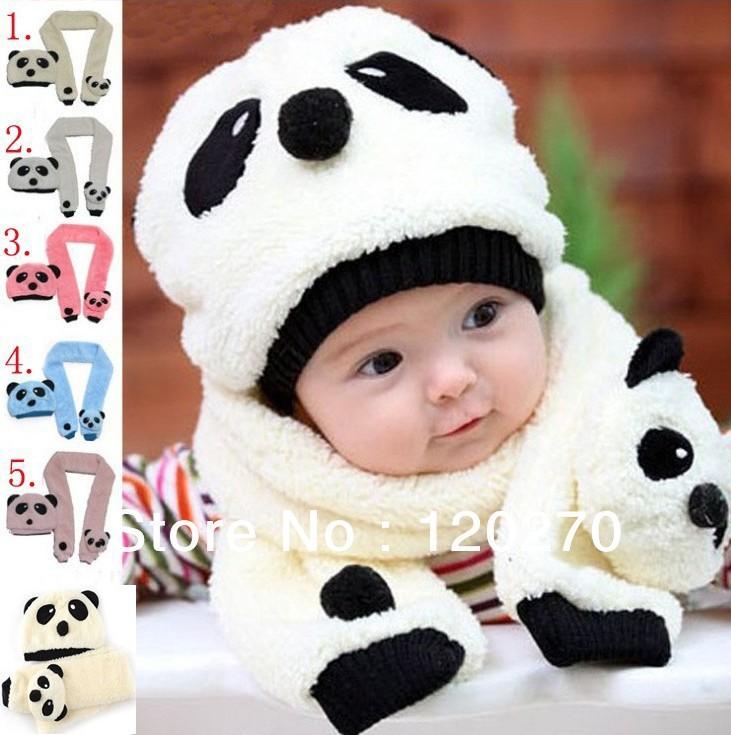 Free Shipping Winter Baby Boys Girls Panda Plush Animal Pattern Hat Scarves Infant Toddler Hat Scarf Set Children Two-piece Suit(China (Mainland))