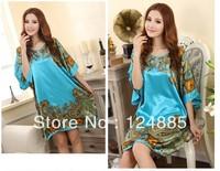 2014 Summer women's homewear artificial silk palace pattern short sleeved nightgown for female 51203