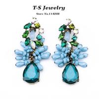 Dangle Earring New Earrings for Women Brinco 2014 Luxury Flower Drop Women's Acrylic Elegant Statement Jewelry free Shipping