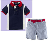2014 summer children's casual clothing boys blue short sleeve shirt + shorts 2pcs set kids wear brand name clothing
