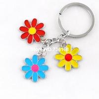 Free shipping chaveiros flores stylish enamel keychain trinket colorful flower jewelry wholesale fashion flower souvenirs