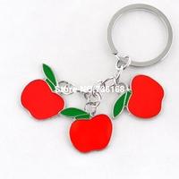 Free shipping baratija manzana stylish apple trinket colorful metal apple souvenirs wholesale enamel fashion apple keychain