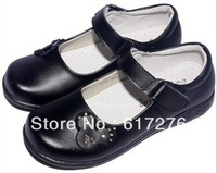 Princess flat shoes for kids girl black leather rhinestone shoes girls school shoes children shoes #CS009# free shipping