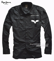 Eslpodcast pepe jeans Men black double slim long-sleeve shirt