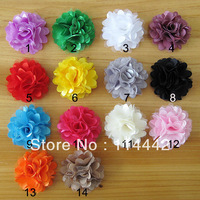 Free Shipping 100pcs / lot 14 color Mesh Satin flower Headbands Accessary
