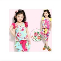 free shipping High-quality Summer printing Baby Girl Suits Kids Sets Dress+Pants Children Clothing