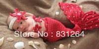 Free Shipping Fashion Toddler Baby Kids Costume Photo Prop Knit Crochet Beanie Flowers Animal-Mermaid