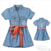 new Children's Dresses 2014  summer children short-sleeve denim soft loth knee-length dresses with polka dot waist belt dress