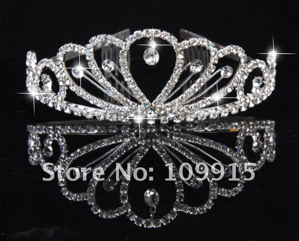 New Stylish Pretty Silver Crystal Rhinestone wedding bridal crown tiara Free Shipping