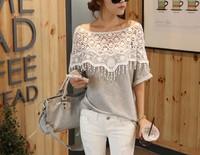 2014 sweet lace women handmade crochet cape collar batwing sleeve blouse medium-long t shirt regata com renda regatas femininas