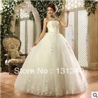 2014 White Sexy Off shoulder flower bride bowknot wedding sweet princess  wedding dress Free shipping