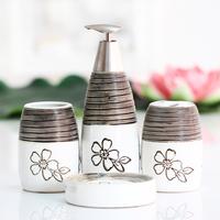 Fashion Vintage Stripe Bathroom Supplies Hand Sanitizer Bottle+ Toothbrush Holder + Soap Dish + Cup Four Piece Bathroom Set