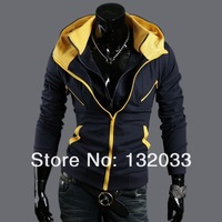 2014 new Korean men's autumn and winter men sweater coat mixed colors Slim tide cardigan sweater