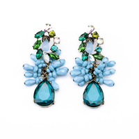 Gifts New 2014 Spring fashion blue flower rhinestone crystal neon blue drop earrings for women  cc free shipping bijoux jewelry