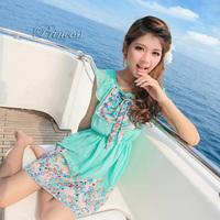 2014 new arrived women floral summer chiffon dress beach dress princess dress Green Beige S M L