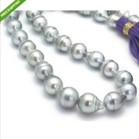 18'' HUGE SOUTH SEA 13-15MM SILVER GREY BAROQUE PEARL NECKLCE 14K GOLD CLASP