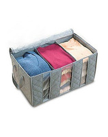 Foldable Bamboo Charcoal fibre home Closet storage bag organizer box case anti-bacterial Clothes finishing bag with lid