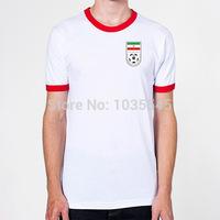 2014 Newest Style World Cup T Shirt 100% Cotton Men's Tops Print Iran Football Team Logo
