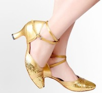 Latin dance shoes female adult Latin dance shoes gold paillette high heeled shoes