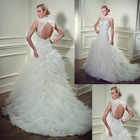 As1732Free Shipping High Neck Open Back New Fashion Vintage Design Mermaid Royal Train Wedding Dresses 2014