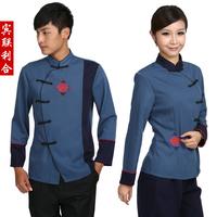 [Free ship-10sets-Top@Pant] E01 work wear autumn and winter waiter clothes uniform long-sleeve  full set waiter's uniforms