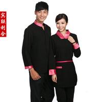 [Free ship-10sets-Top@Pant] E03 work wear long-sleeve waiter clothes winter long-sleeve uniform  full set waiter's uniforms