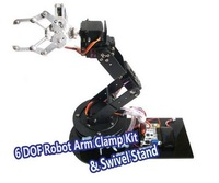 lin    Alloy 6 DOF Arm Clamp & Claw & Swivel Stand Robot Mount Kit for Arduino