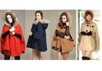 2014 New Hot Winter Womens Ladies Bat Batwing Coat Faux Fur Hoodies Hood Thicken Parka Jacket Outerwear Overcoat Single Breasted