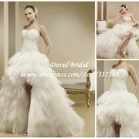 New Arrival Front Short and Long Back Wedding Dresses 2014 High Low Ruffled Tulle Corset See Through SE318