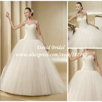 Floor Length Princess Sweetheart Puffy Tulle Ball Gown Wedding Dresses Designer 2014 New Free Shipping SE317