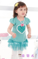 2014 new fashion summer girl dress very cute Love Patchwork lace Dress 2 color free shipping
