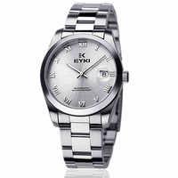 2014 Rushed Real Men Mechanical Hand Wind Watch Brand Male Stainless Steel Clock Roman Hour Multifunction Calendar Waterproof