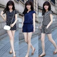 New Fashion Women Jumpsuits 2014 Sweet Stylish Women's Rompers Casual Cool Short Sleeve Dot Stripe Navy Beautiful Jumpsuit