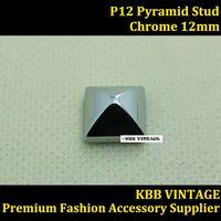 "10PC 1/2"" Chrome Fashion Pyramid Stud Screwback DIY Stud Leathercraft P12"