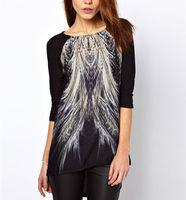 New 2014 Fashion Casual Women t shirt Peacock Tail Printed Asymmetric Hem Back Zip T-Shirt Top Blouse Long Shirt tops tees