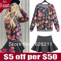 NEW women's Clothing 2014 Spring Casual Long Sleeve O-neck Flower Sweatshirts Mini Short Skirt & Sweater Dress Free Shipping
