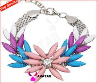 Fashion jewelry 2014 candy color acrylic inlay swiss CZ stone bangle cuff bracelets valentine day gift women