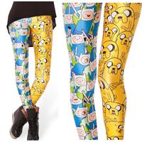 Cute Cartoon Pattern Women Leggings Blue Yellow Color Patchwork Block Design Legging Pants