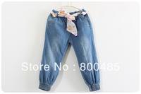 2014 spring autumn new arrivals girl  jeans with flower belt elastic band Bottom of  trouser leg 6pcs/lot