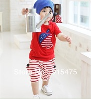 2014 summer children's clothing wholesale baby boys and girls recreational outfit T-shirt + pants 5sets/lot