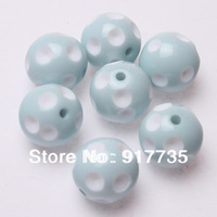 Free Shipping 20mm Resin Polka Dot Beads 100pcs/Lot ligt blue Chunky Gumball Bubblegum Necklace Beads