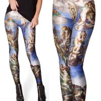 Plus Size Women Galaxy Leggings Character Design Space Print Pants Black Milk Leggings Fashion Pants