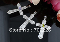 gift silver necklace pendant,silver crystal cross pendant ,high quality Silver pendant, fashion jewelry HP00128