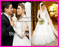 2014 New Design See Through V Neck Long Sleeve Lace Wedding Dress Bridal Gown Robe de Mariage W2751
