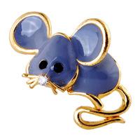 Woman  Trendy  Cute  Mouse  Brooch  Pin  Rhinestone  Enamel   Gold  Plated  Jewelry