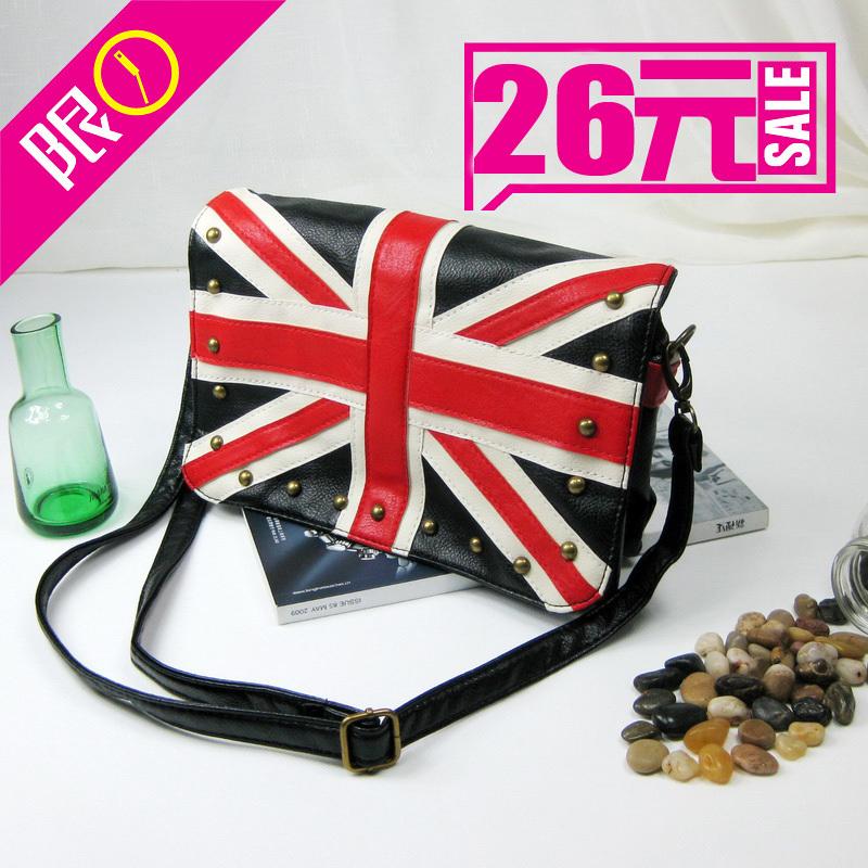 luis bag sac bandouliere bolsa de couro Small c m word flag navy flag vintage rivet women's shoulder messenger small bags(China (Mainland))
