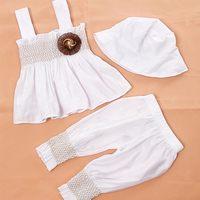 Retail Summer Newborn Baby Infant Princess Suits Bodysuit Kids Overalls Clothing Pretty Flower Decro Shirt + Pants + Hat 0-24M