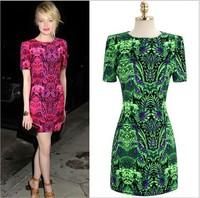 Free shipp 2014 European print  dress ,women party dressshort ,sleeve  summer dress, women new 2014 woman brand one-piece dress
