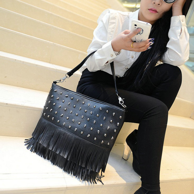 Fashion vintage bag high quality bag skull rivet tassel bag shoulder bag messenger bags female bags(China (Mainland))