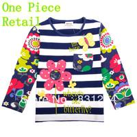 Free Shipping Nova New 2014 100% Cotton Girl's Long Sleeve T-shirts Baby Clothing Girls Autumn-Summer Children T shirts